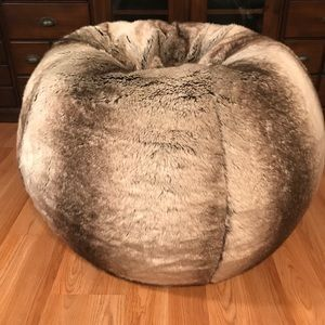 Pottery Barn Gray Ombre Faux-Fur Beanbag Slipcover